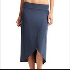 Athleta Ribbon Skirt Blue Faux Wrap Midi Sz S